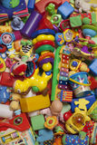 Mess of toys. Mess of different toys and games for babies Stock Photos