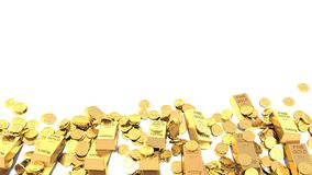 Heap of Treasure. Golden Bars and Coins Stock Images