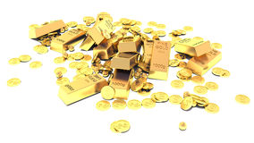 Heap of Treasure. Golden Bars, Coins and Golden Pieces Stock Photos