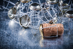 Heap of twisted metal cork stoppers food drink concept Stock Images