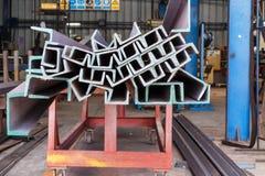 Heap of U shape beam steel in factory shelf Stock Image