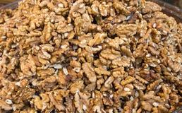 Heap of unshelled walnuts Stock Photos