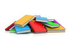 Heap of Untidy Books. Heap of Untidy Colored Books on White Background Stock Photography