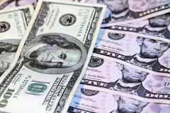Heap of US dollars. Notes of different values, money background Royalty Free Stock Photos