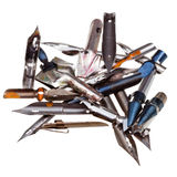 Heap of used metal drawing pens Royalty Free Stock Images