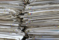 Heap of used newspapers on the collection center for recyclable Royalty Free Stock Images