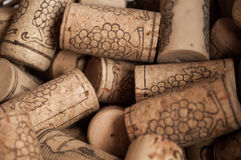 Heap of used vintage wine corks close-up. Stock Images