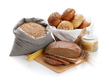 Heap of various bread, bag with wheat and macaroni Royalty Free Stock Photography