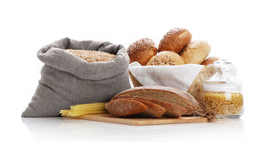 Heap of various bread, bag with wheat and macaroni Royalty Free Stock Image