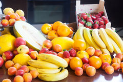 Heap of various fresh fruits at table Stock Images