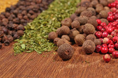 Heap of various kinds of dry spices Royalty Free Stock Image