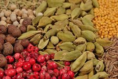 Heap of various kinds of spices Stock Photo