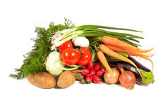 Heap of vegetables on white background Stock Photos