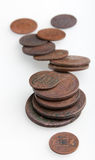 Heap of very old copper coins Stock Images