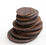 Heap of very old copper coins Stock Photo