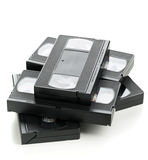 Heap of video home system movie cassettes Royalty Free Stock Photos
