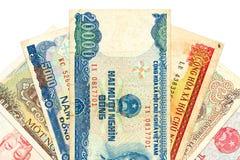 Heap of vietnamese bank notes stock image