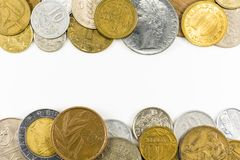 Heap of vintage coins on the top and bottom royalty free stock photos