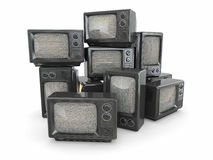 Heap of vintage tv. End of television Stock Photo