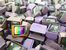 Heap of vintage tv. End of television. Conceptual background. Royalty Free Stock Photo