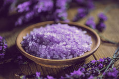 Heap of violet bath salt Stock Photo
