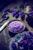 Heap of violet bath salt Royalty Free Stock Images