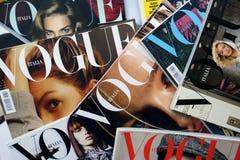 Heap of Vogue Italia fashion magazines stock photo