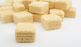 Heap wafers on a white Stock Image