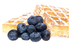 Heap of waffles with blueberries (clipping paths) Royalty Free Stock Images