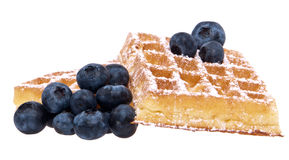 Heap of waffles with blueberries (clipping paths) Stock Photos