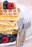 Heap of waffles with fresh fruits Stock Photo