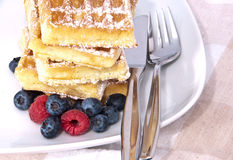Heap of waffles with fresh fruits Stock Photography