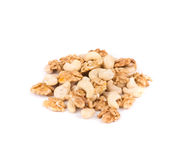 Heap of walnut and cashew nuts. Royalty Free Stock Photography