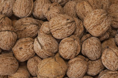 Heap of walnuts. On table top Stock Photo