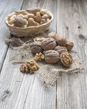 Heap of walnuts in a bowl Stock Images