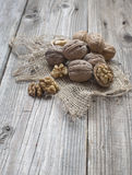 Heap of walnuts on a cloth. Heap of walnuts on a pice of cloth Royalty Free Stock Photo