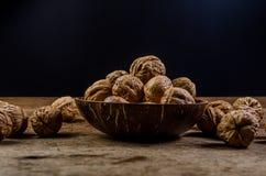 Heap of walnuts coconut shell Royalty Free Stock Image