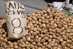 Heap of walnuts on a market stall Stock Image