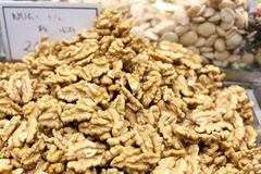 Heap of walnuts for sale at a market stall, La Stock Image