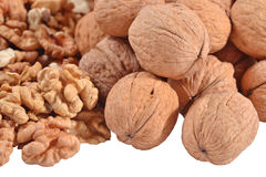 Heap of walnuts on a white Stock Image