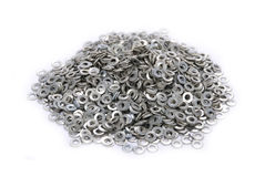 Heap of washers. Isolated on white Royalty Free Stock Photography