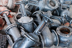 Heap of water shut-off valves big diameter Stock Photos