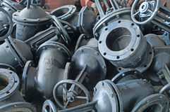 Heap of water shut-off valves big diameter Stock Image