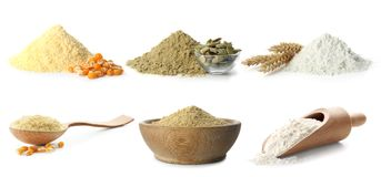 Heap of wheat flour. On white background stock images