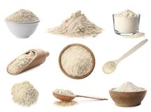 Heap of wheat flour. On white background stock photography