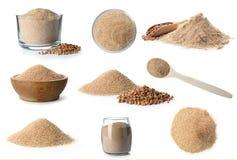 Heap of wheat flour on white. Background stock image
