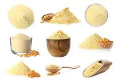 Heap of wheat flour. On white background royalty free stock image