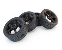 Heap of wheels. Group of four wheels on black rims vector illustration