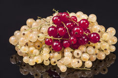 Heap of white currant and redcurrant isolated on black backgroun Stock Photo