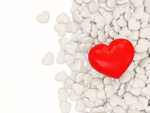 Heap of White Hearts with Big Red Heart Stock Photography